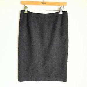 Theory Wool Blend Pencil Straight Skirt Womens 4 Black Knee Length